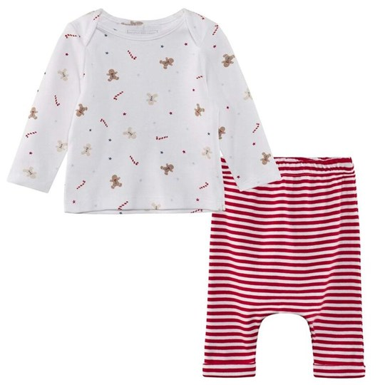 The Little White Company Gingerbread Stripe Pyjama Set Red