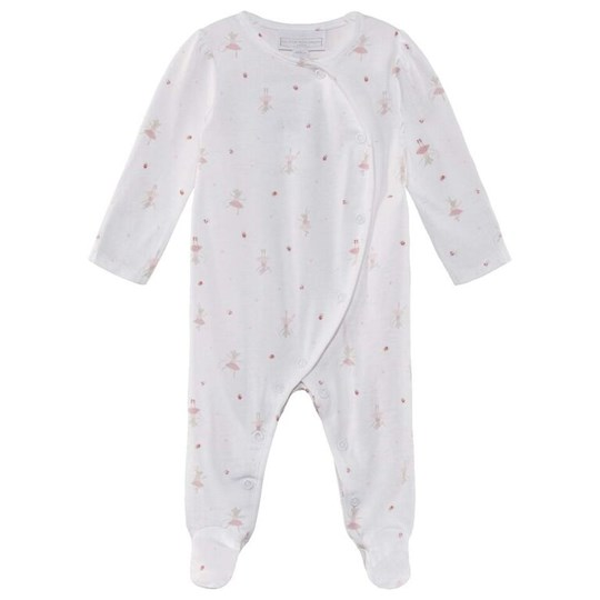 The Little White Company Ballet Wrap Footed Sleepsuit White