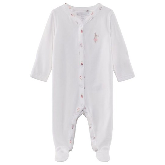 The Little White Company Ballet Velour Sleepsuit White Hvid