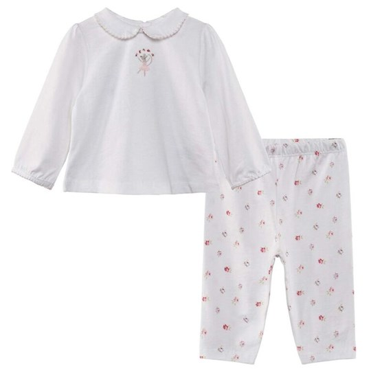 The Little White Company White Pyjama Set W Full Print Trousers And Mouse Ballet Motif And Peter Pan Collar Hvit