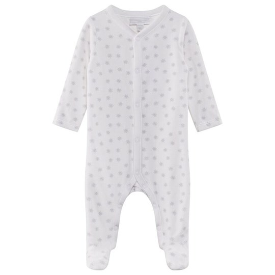 The Little White Company Snowfall Velour Sleepsuit White Hvit
