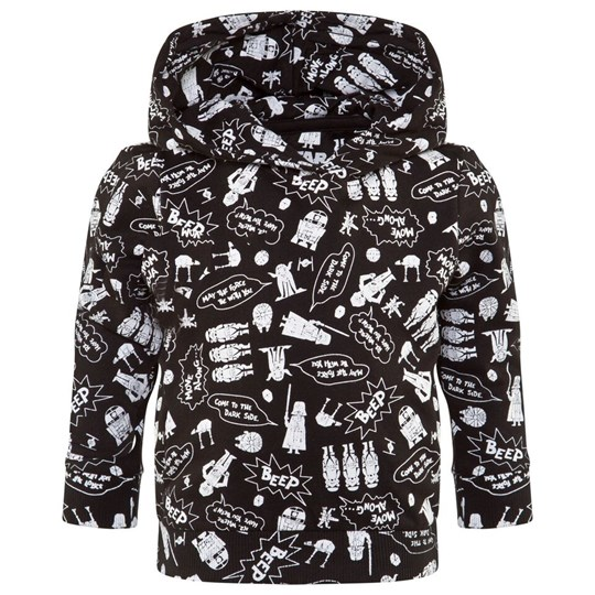 Little Eleven Paris Black With White Starwars Cartoon All Over Print Hoodie M06
