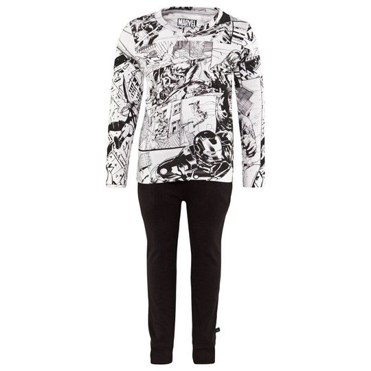 Little Eleven Paris Black And White Pyjamas With Avengers Cartoon All Over Print M99