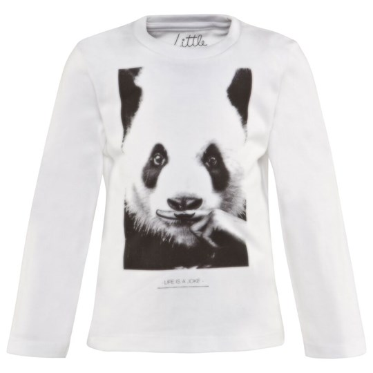 Eleven Paris White Crew Neck Tee With Panda Moustache Print M99