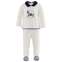 Mayoral Off White Velour Rocking Horse Top and Bottom Set
