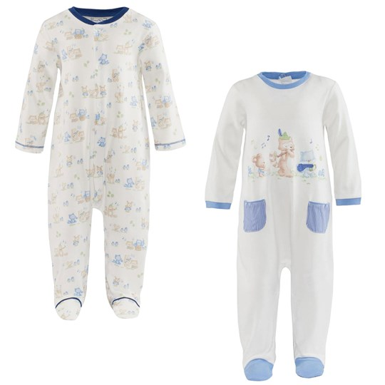 Mayoral 2 Pack of Pale Blue and Off White Character Babygrows 67