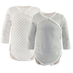Mayoral 2 Pack of Off White and Grey Stripe and Star Bodies