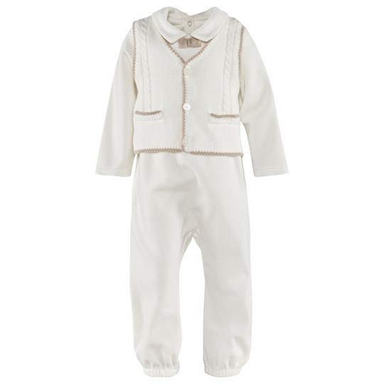 Mayoral Off White Velour Babygrow with Waistcoat Effect and Bow Tie 20 - Crudo