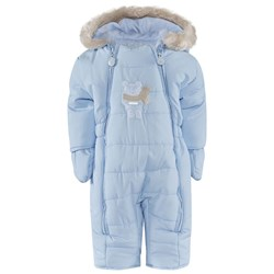 Mayoral Pale Blue Puffa Snowsuit with Teddy Fleece Lining