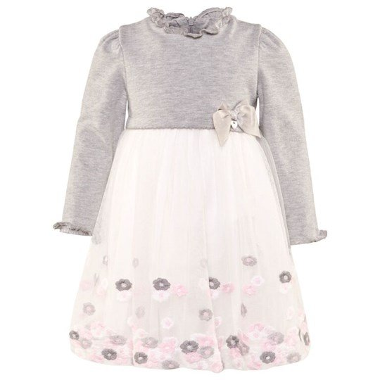 Mayoral Grey Knit Dress with Tulle Flower Skirt 21
