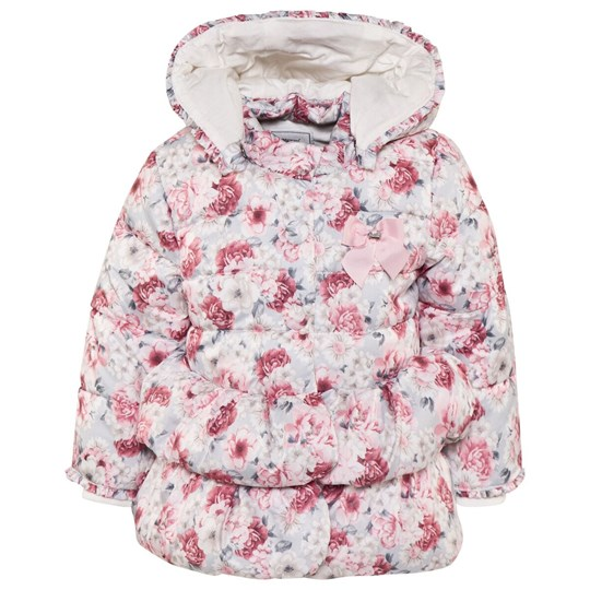 Mayoral Pink and Grey Floral Quilted Puffer 89
