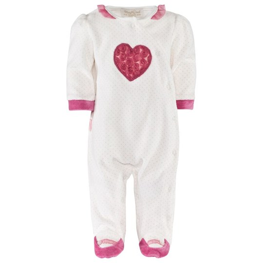 Mayoral Off White Velour Frill Babygrow with Pink Tulle Heart Applique 15 - Rosee