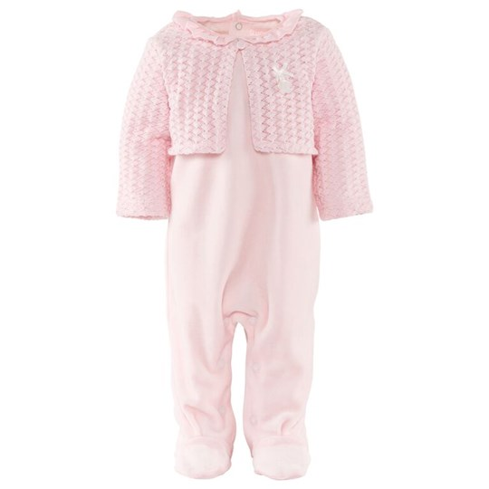 Mayoral Pink Velour Babygrow with Knit Effect Cardigan 38