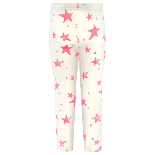 Noe & Zoe Berlin Off White Leggings With Pink Stars NEON PINK STAR