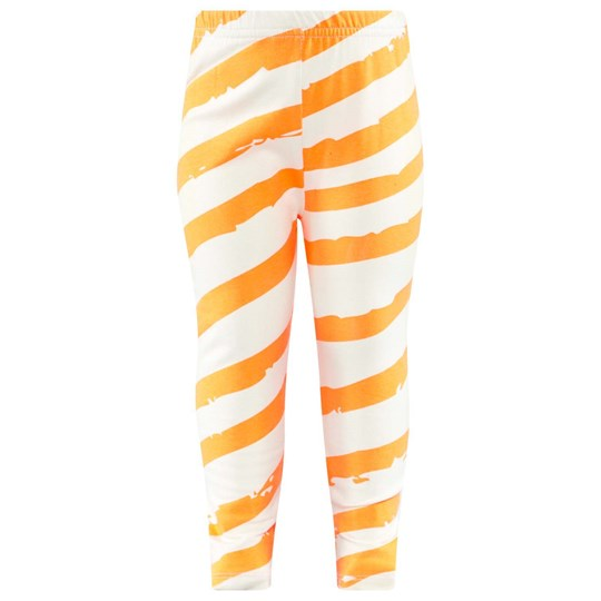 Noe & Zoe Berlin Off White Leggings With Orange Stripes NEON ORANGE DIAGONAL