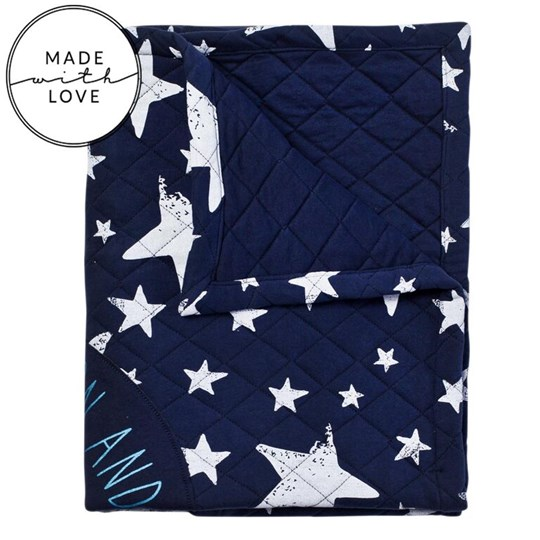 Noe & Zoe Berlin Navy Quilted Love You To The Moon Blanket  WHITE STARS W MOON