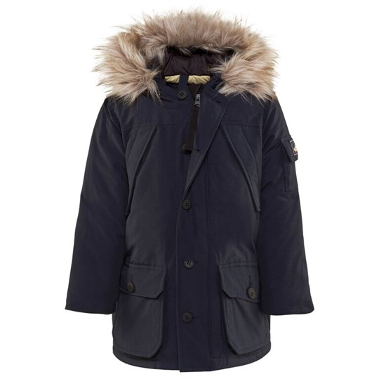 Penfield Navy Hoosac Parka Coat with Faux Fur Trim Hood 002 NAVY