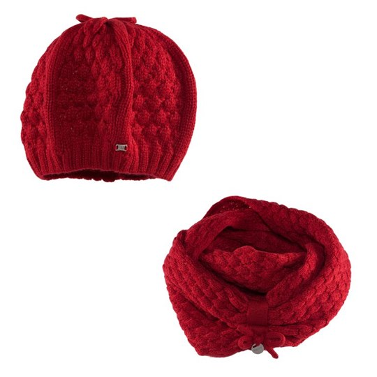 Mayoral Scarlett Red Knit Beret and Loose Snood 77