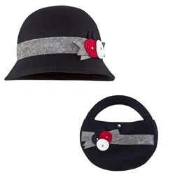 Mayoral Navy Felt Cloche Hat And Bag