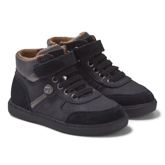 Mayoral Black Leather Hi Top Trainers 24 - Negro