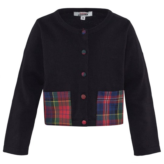 Junior Gaultier Black Cardigan With Plaid Pockets 2
