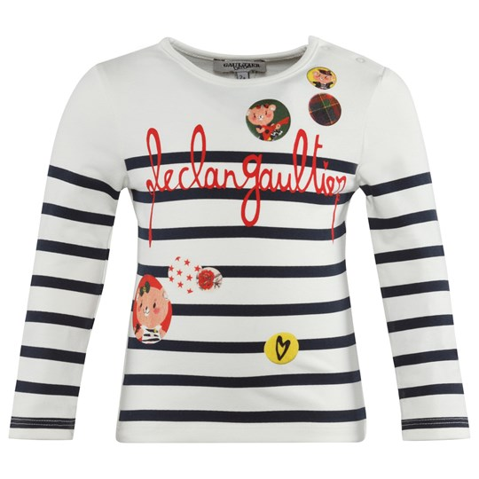 Junior Gaultier Off White Tee With Navy Stripes 4