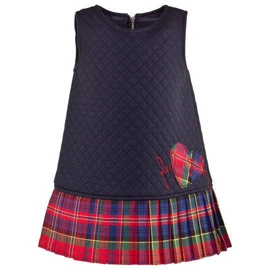 Junior Gaultier Navy Sleeveless Quilted Shift Dress With Pleated Tartan Skirt 4