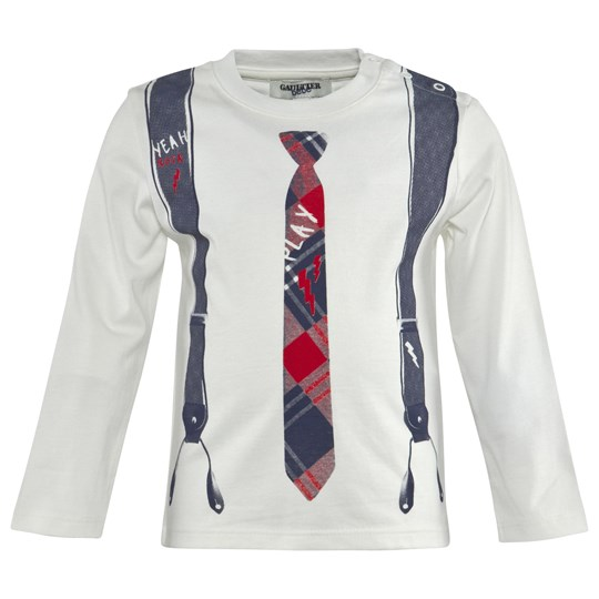 Junior Gaultier Off White Tee With Tie And Suspenders Print 11