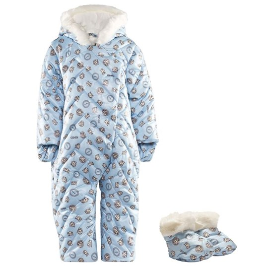 Kenzo Pale Blue All Over Tiger and Stamp Print Snowsuit 41