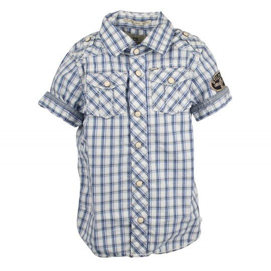 Scotch & Soda Shirt Plaid Short Sleeve Blue