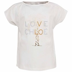Chloé Ivory Cotton T-Shirt With Gold Palm Tree