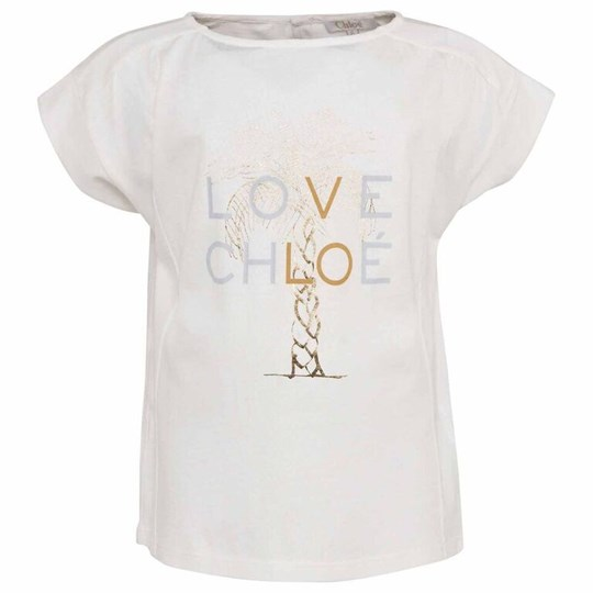 Chloé Ivory Cotton T-Shirt With Gold Palm Tree White