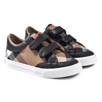 Burberry House Check and Leather Trainers Black Black