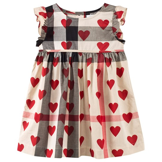 Burberry Check And Hearts Print Cotton Dress Beige Parade Red