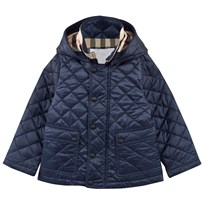 Burberry Check Detail Diamond-quilted Jacket Ink Blue Ink Blue