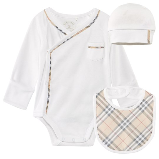 Burberry Check Cotton Three-Piece Gift Set White White