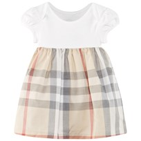 Burberry Check Detail Cotton Dress  Pale Classic Check