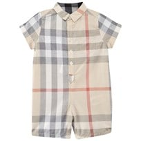 Burberry Check Cotton Playsuit  Pale Classic Check
