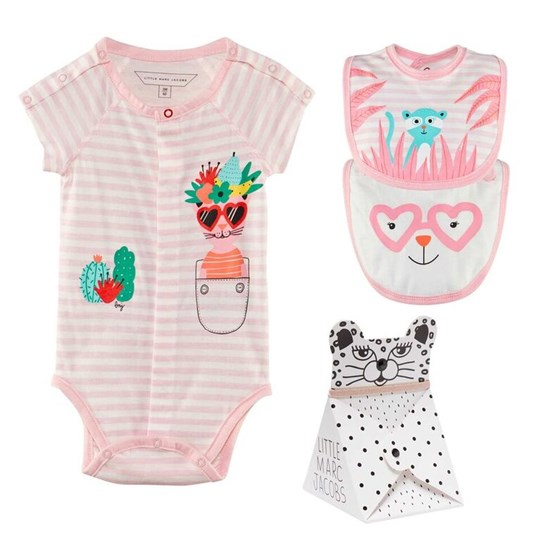 Little Marc Jacobs Baby Body+Bibs Set Pink Off White Pink Off White