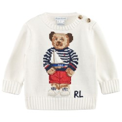 Ralph Lauren Bear Sweater Logo Paper White