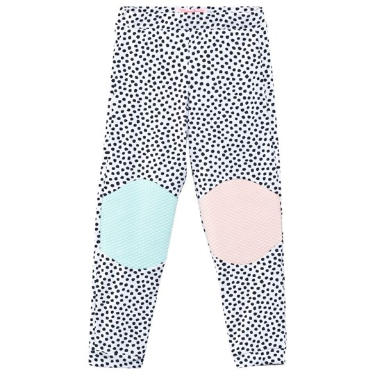Wauw Capow Happy Legs Dot Leggings White White w. Black dots