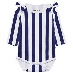 The BRAND Bow Onesie Blue/White Stripe
