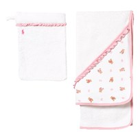 Ralph Lauren Cotton Hooded Towel & Mitt Set White White