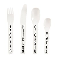 Design Letters AJ Kids Melamine Cutlery Set White with black letterprint