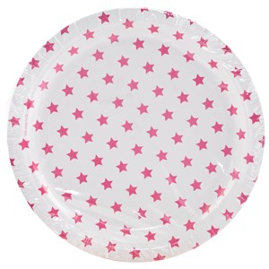 Image of My Little Day 8 Paper Plates - Bright Pink Stars (2743696369)