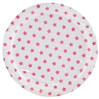 My Little Day 8 Paper Plates - Bright Pink Stars bright pink stars