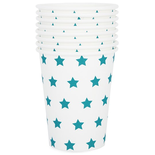 My Little Day 8 Paper Cups - Blue Stars light pink diamonds