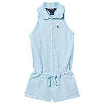 Ralph Lauren Cotton Mesh Polo Romper Aquamarine/White Aquamarine/white