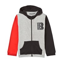 The BRAND Block Hoodie Black Red Grey Melange Block Red/Grey Mel/Black