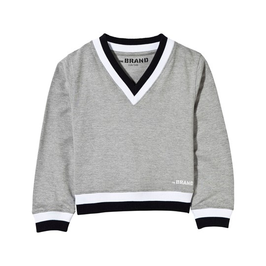The BRAND V-Neck College Sweater Grey Grey Mel/Black/White